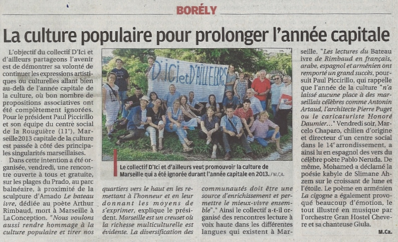 D'ici et d'ailleurs 5 juin La Provence du lundi 8 juin  2015