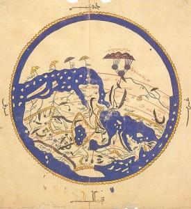 Carte mondiale datant de 1154 réalisée par Al Idrissi pour Roger II de Sicile.