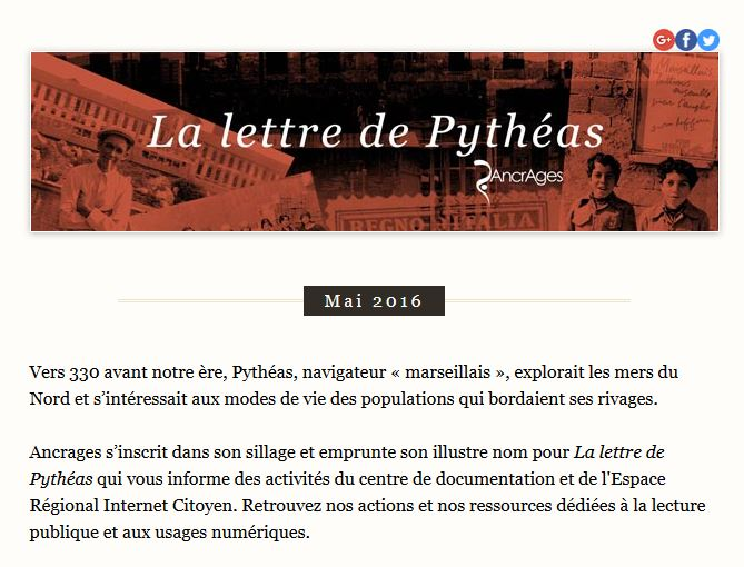 La lettre de pythéas mai 2016